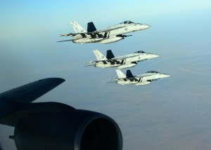 A formation of U.S. Navy F-18E Super Hornets (U.S. Air Force photo by Staff Sgt. Shawn Nickel)