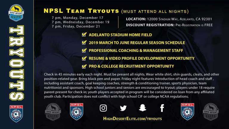 High Desert Elite kicks off 2019 NPSL tryouts December 17
