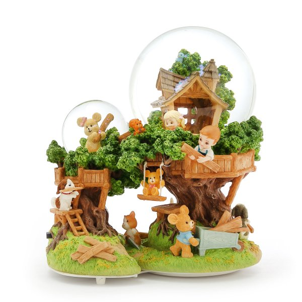"""""""Our Tree House Base""""- Children's fairy tale tree house scene Snow Globe Music Box (Musical Box Water Globe / Snow Domes Christmas Collection)"""