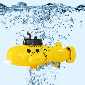 Sharper Image Wireless RC Submarine Real Underwater Action Explorer For Pool Fun (Small Yellow Submarine Toy)