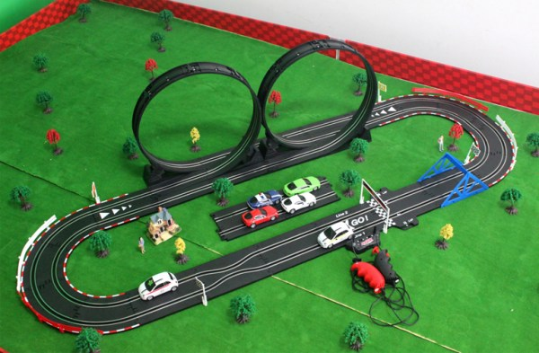 """-""""Thrilling Roller coaster""""- Slot Car Track Layout Set Kits, Top-Racer AGM TR Series (TR-02) Slot Car Racing Set Kits. (1:43 Scale Indoor racing car toy)"""
