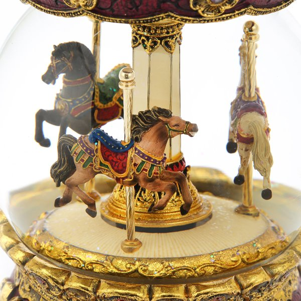 """Gorgeous """"European style"""" """"Antique style"""" Carousel (Merry-Go-Round) Music Snow Globe (Musical Water Globe), Charming classical atmosphere."""