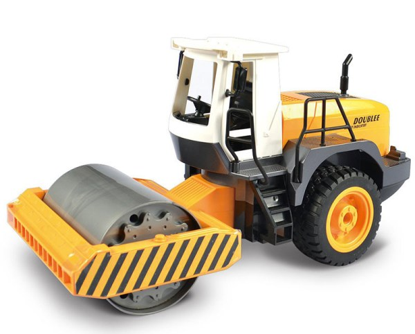 Simulation RC Single Drum Road Roller Toy, Electric Remote Control Construction Vehicle (Construction Equipment, Construction Machinery, Sand Game Toy, Outdoor children's beach toy)