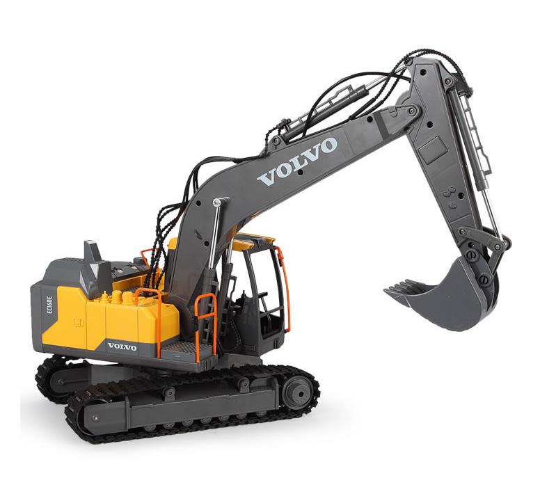 """3 in 1"" Volvo Remote Control Excavator, 1/16 RC Excavator Electric Toy With Hydraulic Hammer, Excavation Shovel, Excavation Grab."