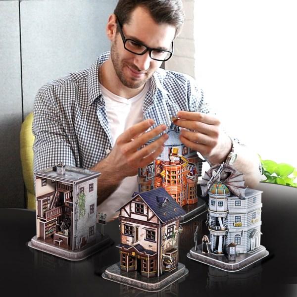 Cubicfun DS1009h Harry Potter Diagon Alley 3D Paper Jigsaw Puzzle Weasley Wizard Wheezes Quality Quidditch Supplies Ollivanders Wand Shop Gringotts Bank Paper Jigsaw Puzzle