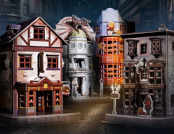 Harry Potter Diagon Alley Paper Jigsaw Puzzle, Weasley's Wizard Wheezes, Quality Quidditch Supplies, Ollivanders Wand Shop, Gringotts Bank. birthday present, Christmas gifts, Children's Day gifts.