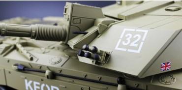RTF RC Challenger 2 British Army (United Kingdom, UK, U.K.) Main Battle Tank. 1/16 Scale Model Tank, Heng Long 3908 Remote Control Tank. Radio Control Military Vehicle Electric Toy. (HL 3908 British Challenger 2 RC Tank Plastic Version)