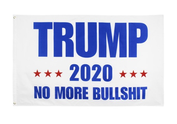 """""""TRUMP 2020 NO MORE BULLSHIT"""" Donald Trump 2020 Presidential Campaign Flag, Trump Campaign Slogan & Logos & Poster & ads & Banners. (3FT x 5FT, 90cm x 150cm, 35in x 59in) White Background, Blue Text, Red Stars"""