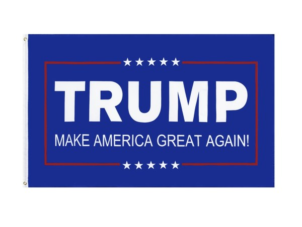 """""""TRUMP MAKE AMERICA GREAT AGAIN!"""" Donald Trump 2020 Presidential Campaign Flag, Trump Campaign Slogan & Logos & Poster & ads & Banners. (3FT x 5FT, 90cm x 150cm, 35in x 59in) Blue Background, White Text, White Stars, Red line"""