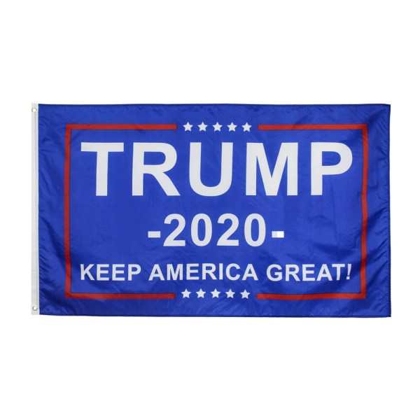 """""""TRUMP 2020 KEEP AMERICA GREAT"""" Donald Trump 2020 Presidential Campaign Flag. (3FT x 5FT, 90cm x 150cm, 35in x 59in) Blue Background, White Text, White five-pointed Star, Brown Lines"""