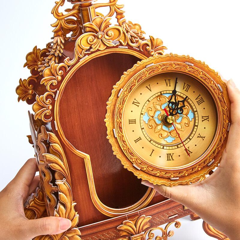 DIY Vintage Table Clock, Antique Table Clock 3D Paper Puzzle, Retro Table Clock Making Kits, Make a Real Antique Desk Clock For Kids At Home (Electric clock, Grandfather Clock Pendulum, Electromagnetic Pendulum Clock, Quartz Clock, Electromechanical Clock)