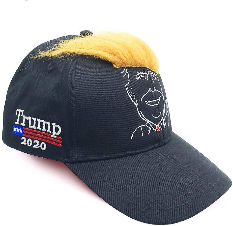 Trump 2020 Make America Great Again Campaign Hat, Donald Trump 2020 Presidential Campaign Baseball Cap. Black, Embroidery, Cartoon Image with Iconic Trump-style Yellow Wig