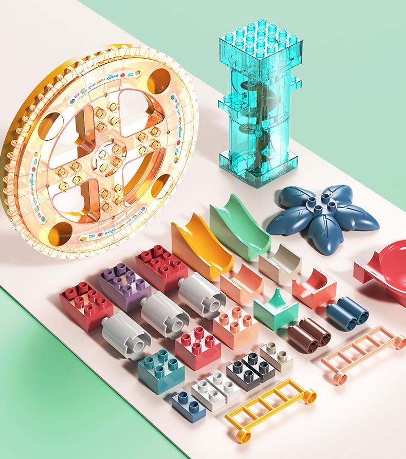 Big Building blocks toy, Children puzzle building blocks, STEM Toy, Animal playground scene toy, Beach house, ferris wheel scene Marble Run Track construction.