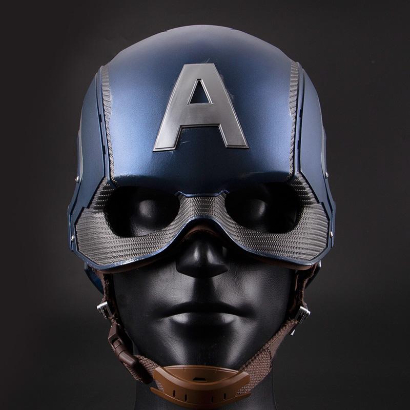 Pro Captain America Helmet 1:1 Scale Replica, Metal texture paint, bright blue, Edge scratch effect, Battle damage effect painting. Marvel Avengers Captain America 3 Civil War Captain America Cosplay Hat, Mask Helmet Cosplay Props