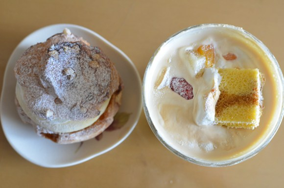 Big Pudding and Cream Puff -European cake Cote Dor in Sapporo-