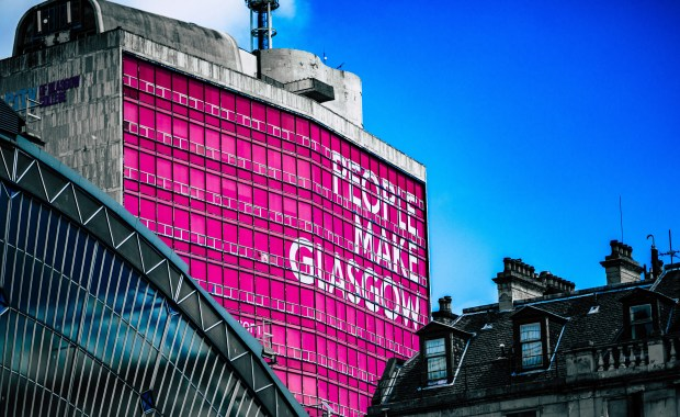 Iconic sign reading 'People Make Glasgow'
