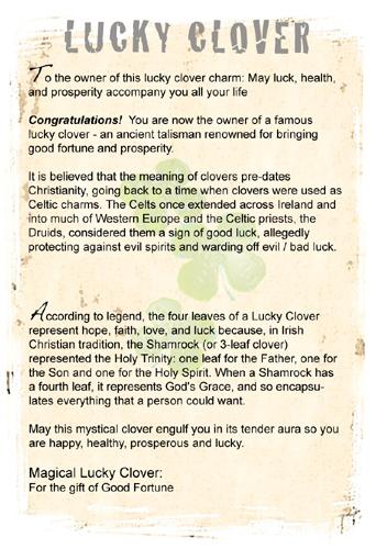 Lucky clover gift informationl