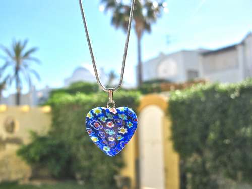 Heart pendant glass blue