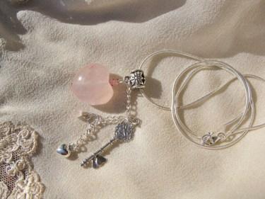 Rose Quartz love heart necklace