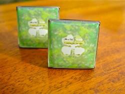 Lucky 4 leaf clover cufflinks