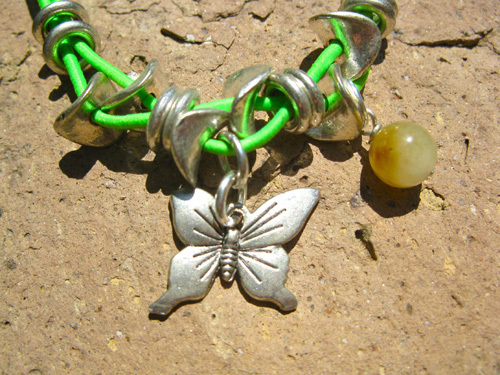 Butterfly charm anklet with jade