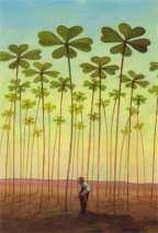 Tall clovers in field