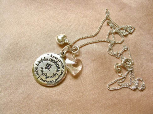 Love charm necklace with birthstone heart crystal