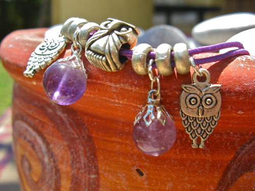 Guardian owl anklet with amythyst