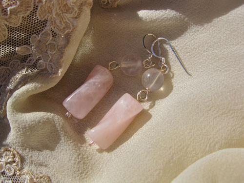 Rose Quartz earrings silver