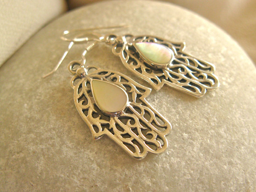 You can buy these pretty Hamsa earrings in our shop