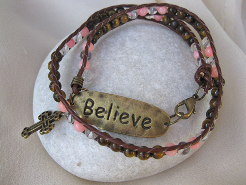 BELIEVE bracelet Coral Tigers Eye