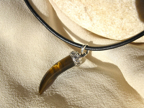 Tigers Eye necklace sharks tooth