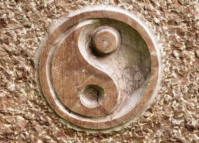 Yin Yang symbol carving