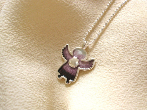 Angel charm necklace with scallop