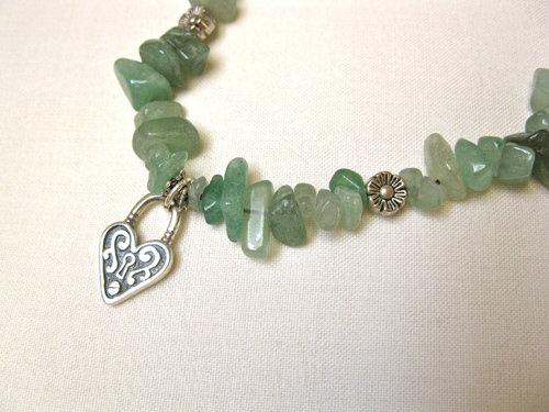 Aventurine love lock necklace