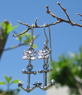 Butterfly and Anchor earrings