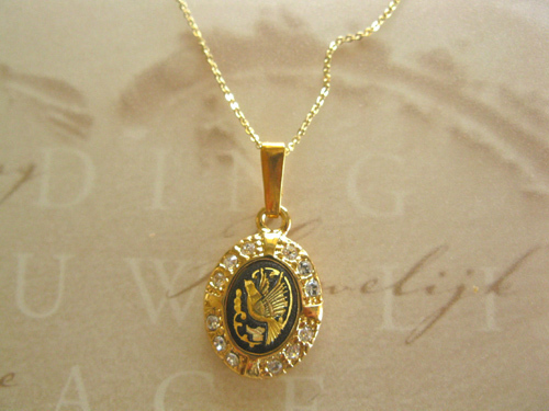 Damascene oval pendant