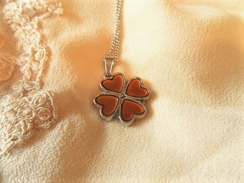 Lucky clover and heart necklace