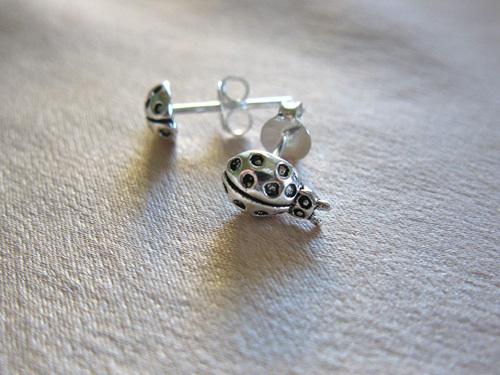 Silver ladybird earrings
