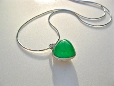Green jade silver heart necklace