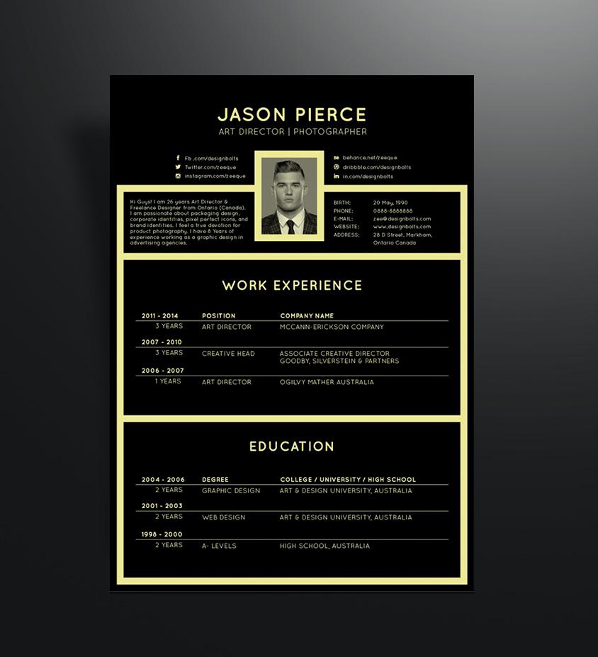 Free Black Elegant Resume CV Design Template For Art Director Amp Photographer Good Resume