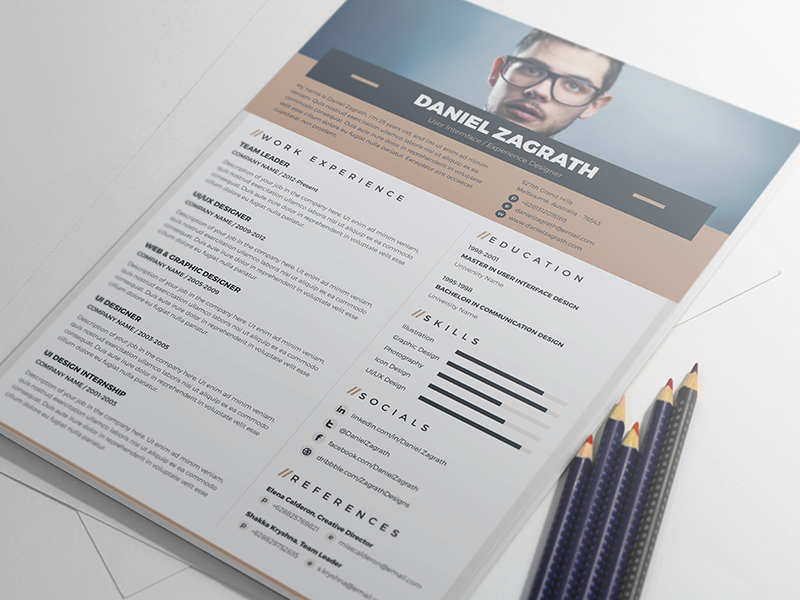Free Resume Template For UI  UX  Web   Graphic Designers   Good Resume Free Resume Template For UI  UX  Web   Graphic Designers