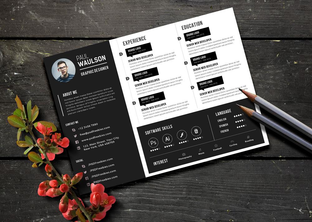 Free Black Landscape Resume CV Design Template PSD File Good Resume
