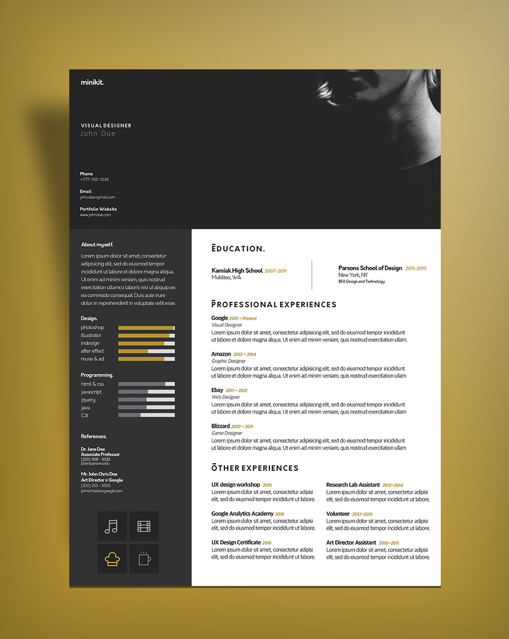 Free Curriculum Vitae  CV  Design Template For Designers PSD File         Free Curriculum Vitae CV DesignTemplate PSD File  3