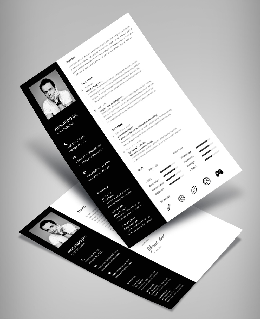 Classy Black Amp White Resume CV Template With Cover Letter Free PSD File Good Resume
