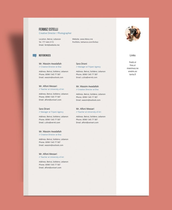 Free Professional Resume Cv Template With Cover Letter Portfolio In Ai For Graphic Designer Photographer Good Resume