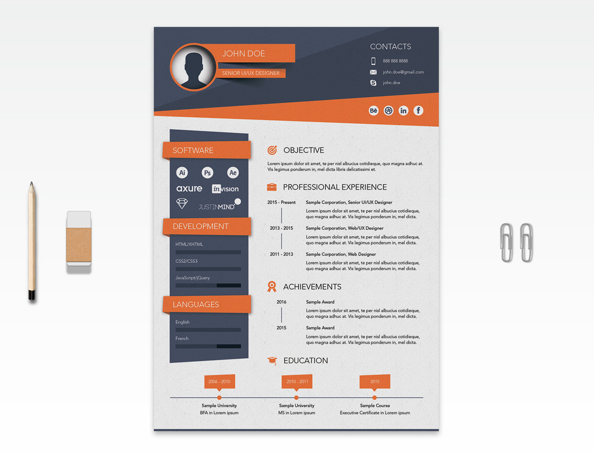 Free Creative Resume CV Design Template Ai File Good Resume