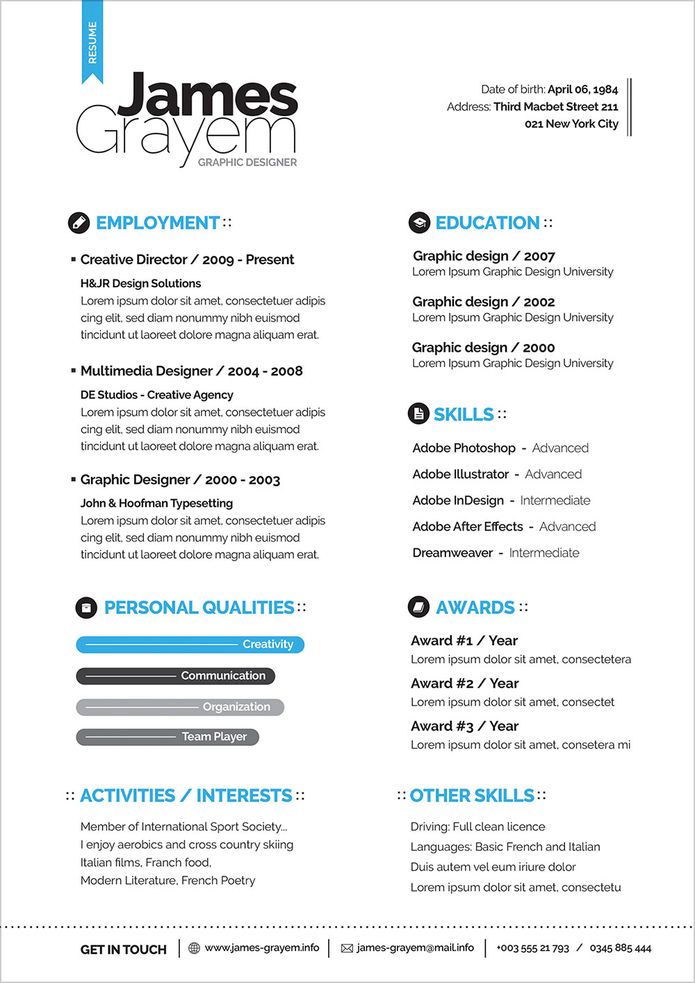 Free Professional Resume CV Template Amp Cover Letter For Creative Director Good Resume