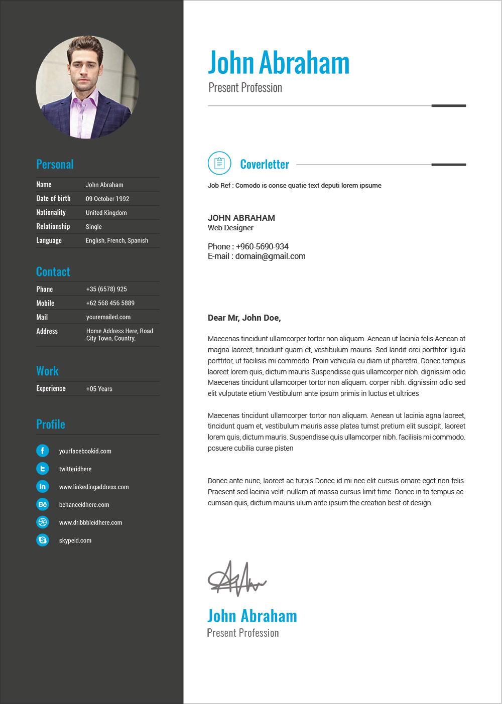 Free Professional Resume Template Amp Cover Design In Indd