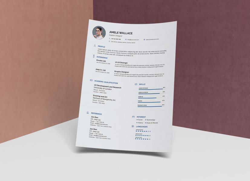 Free Simple Resume Template In Photoshop PSD Format   Good Resume Free Simple Resume Template In Photoshop PSD Format